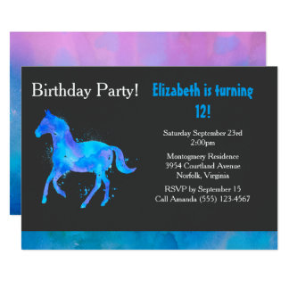 Cool Horse in Blue and Purple Watercolors Birthday Card