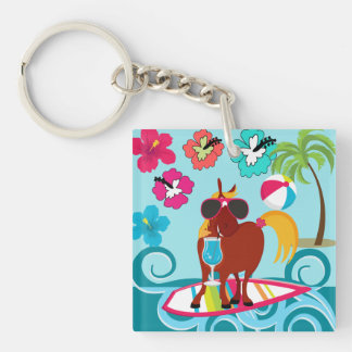 Cool Horse Surfer Dude Summer Fun Beach Party Double-Sided Square Acrylic Keychain