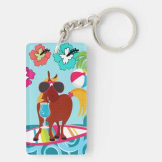 Cool Horse Surfer Dude Summer Fun Beach Party Keychain