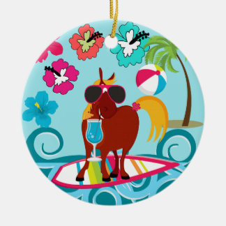 Cool Horse Surfer Dude Summer Fun Beach Party Christmas Tree Ornaments