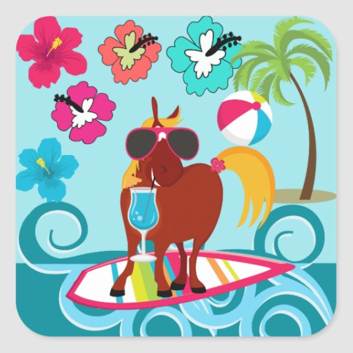 Cool Horse Surfer Dude Summer Fun Beach Party Sticker