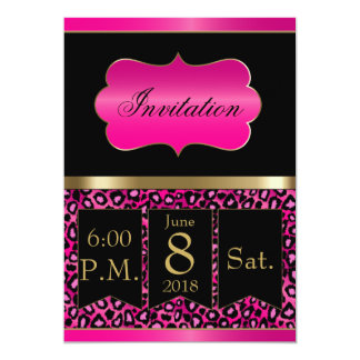 Cool Hot Pink & Black Leopard Party Template Card