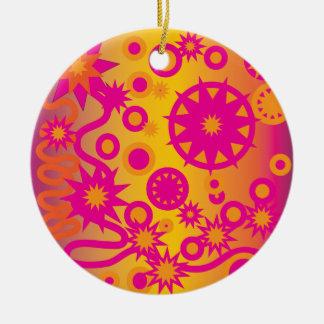 Cool Hot Pink Orange Girly Stars Circles Pattern Ceramic Ornament