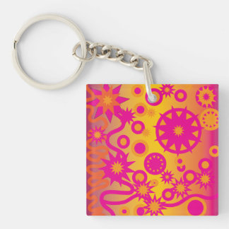 Cool Hot Pink Orange Girly Stars Circles Pattern Double-Sided Square Acrylic Keychain