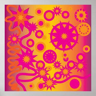 Cool Hot Pink Orange Girly Stars Circles Pattern Poster