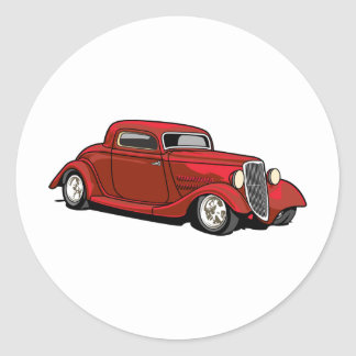 Cool Hot Rod Round Stickers