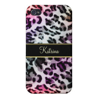 Cool Hued Rainbow Leopard Personalized iPhone Case
