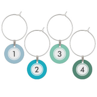 Cool Hues Custom Set of 4 Wine Charms