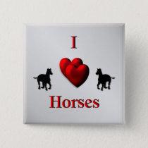 Cool I Heart Horses Design Button
