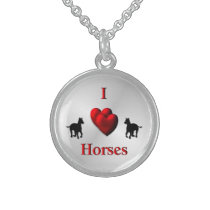 Cool I Heart Horses Design Sterling Silver Necklace