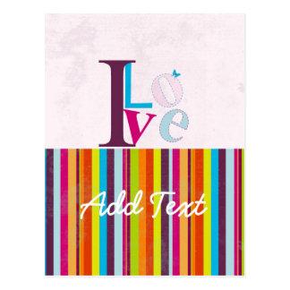 """Cool """"I LOVE"""" retro colourful bright stripes Postcard"""