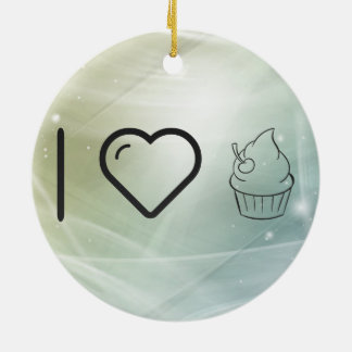 Cool Icing Cupcakes Double-Sided Ceramic Round Christmas Ornament