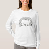 Cool Illustrated Artsy Floral Polar Bear Pen Art T-Shirt