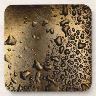 Cool image of water drops on metal drink coaster