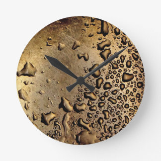 Cool image of water drops on metal round clock