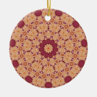 Cool Indian Inspired Red and Orange Pattern Ceramic Ornament