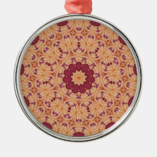 Cool Indian Inspired Red and Orange Pattern Metal Ornament