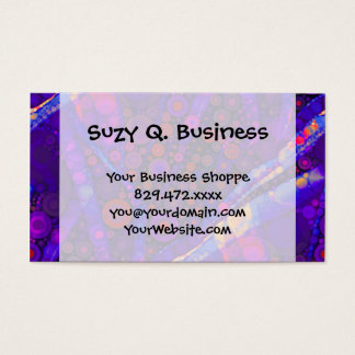 Cool Indigo Concentric Circles Abstract Mosaic Business Card