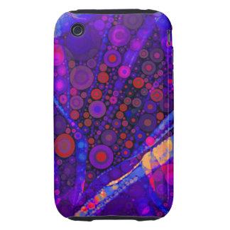 Cool Indigo Concentric Circles Abstract Mosaic Tough iPhone 3 Cases