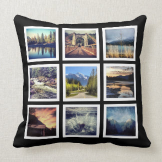 Cool Instagram 9 Photo Collage Throw Pillow
