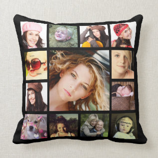 Cool Instagram Photo Collage Throw Pillow at Zazzle