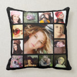 "Cool Instagram Photo Collage Throw Pillow<br><div class=""desc"">Upload a dozen of your favorite or best family pictures to make your very own personalized throw pillow! Plain black background front and back. Images will fill the template areas so they don&#39;t need to be square cropped, although it works best if they are all unframed. Outside images are perfect...</div>"