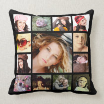 Cool Instagram Photo Collage Throw Pillow