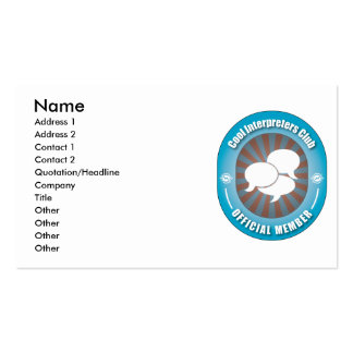 Cool Interpreters Club Double-Sided Standard Business Cards (Pack Of 100)