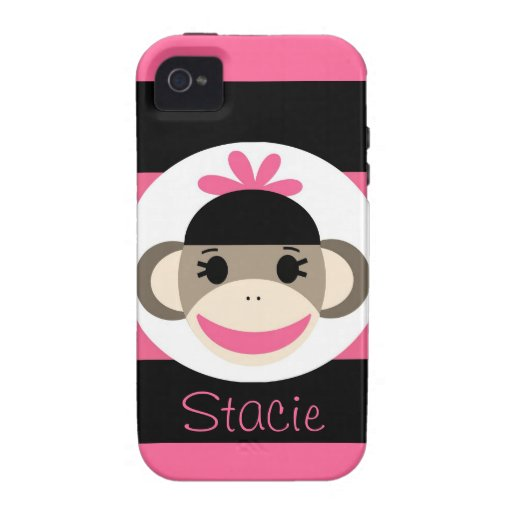 Cool iPhone 4 Cases for Girls Pink Sock Monkey : Zazzle
