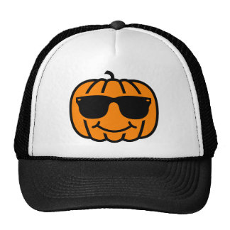 Cool jack-o-lantern with sunglasses trucker hat