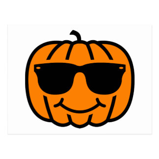 Cool jack-o-lantern with sunglasses postcard