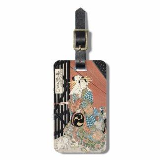 Cool japaese ukiyo-e vintage classic geisha lady tags for luggage