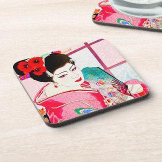 Cool japanese beauty Lady Geisha pink Fan art Beverage Coaster