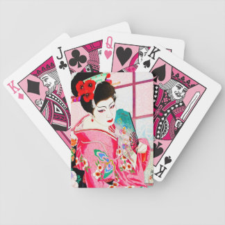 Cool japanese beauty Lady Geisha pink Fan art Bicycle Playing Cards