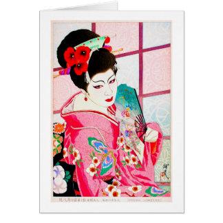 Cool japanese beauty Lady Geisha pink Fan art Card