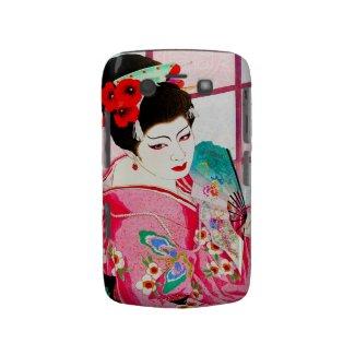 Cool japanese beauty Lady Geisha pink Fan art Blackberry Bold Case