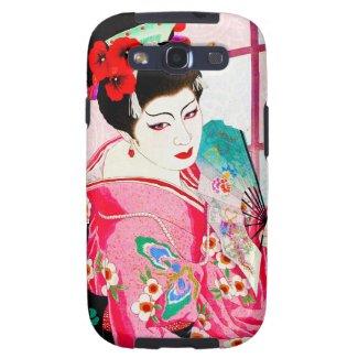 Cool japanese beauty Lady Geisha pink Fan art Galaxy SIII Cover