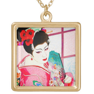 Cool japanese beauty Lady Geisha pink Fan art Gold Plated Necklace