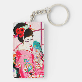 Cool japanese beauty Lady Geisha pink Fan art Keychain
