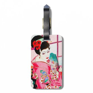 Cool japanese beauty Lady Geisha pink Fan art Tag For Bags