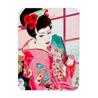 Cool japanese beauty Lady Geisha pink Fan art Magnet