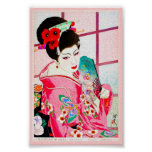 Cool japanese beauty Lady Geisha pink Fan art Posters
