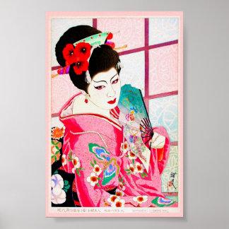 Cool japanese beauty Lady Geisha pink Fan art Poster