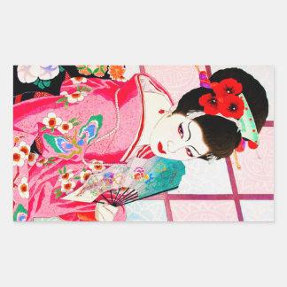 Cool japanese beauty Lady Geisha pink Fan art Rectangular Sticker