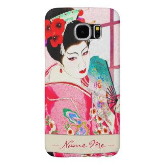 Cool japanese beauty Lady Geisha pink Fan art Samsung Galaxy S6 Case