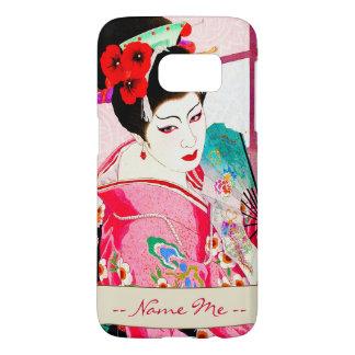 Cool japanese beauty Lady Geisha pink Fan art Samsung Galaxy S7 Case