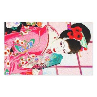 Cool japanese beauty Lady Geisha pink Fan art Rectangle Sticker