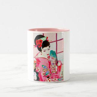 Cool japanese beauty Lady Geisha pink Fan art Two-Tone Coffee Mug