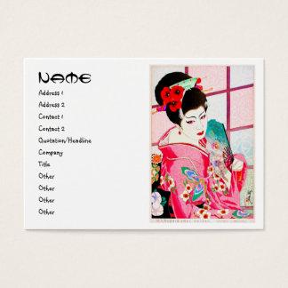 Cool japanese beauty lady geisha pink fan kimono a business card