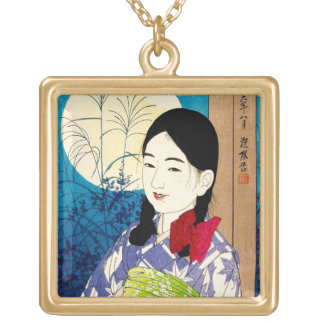 Cool japanese beauty young girl Natori full moon Gold Plated Necklace
